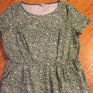 Boden green print cotton dress 16